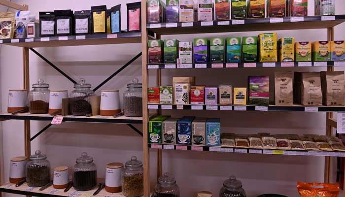 We stock loose and packaged tea, herbal teas, drinking chocolate & coffee